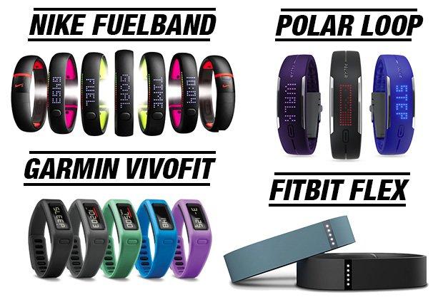 pulseras de actividad nike fuelband, garmin vivofit, fitbitflex, polar loop