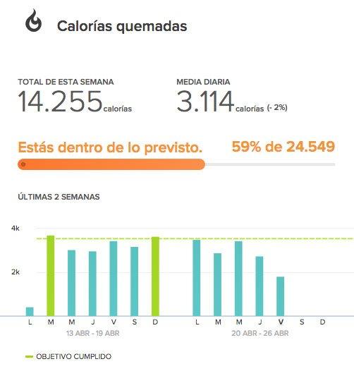 Gráfico de calorías quemadas de la la web de FITBIT