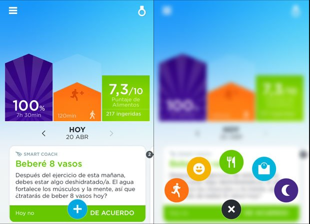 Pantalla inicial App móvil Jawbone