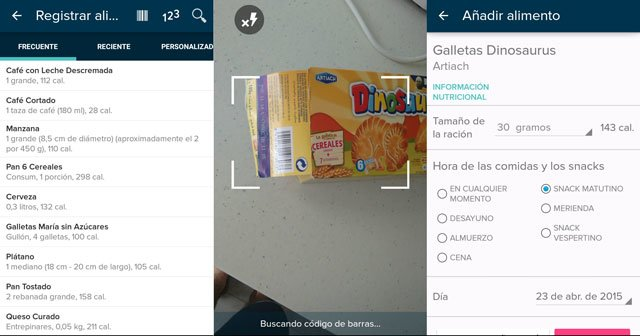 registrar alimentos aplicación fitbit