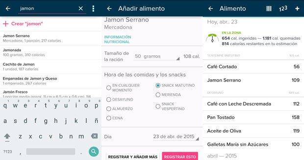 Ejemplo de registro de alimentos en la aplicación móvil FITBIT de control de peso y actividad.