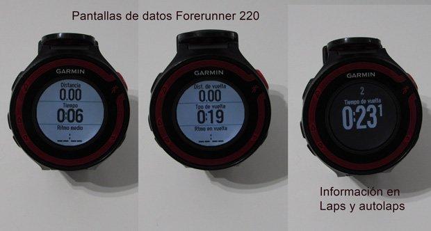 Datos, Pantalla y Autolaps en Garmin Forerunner 220