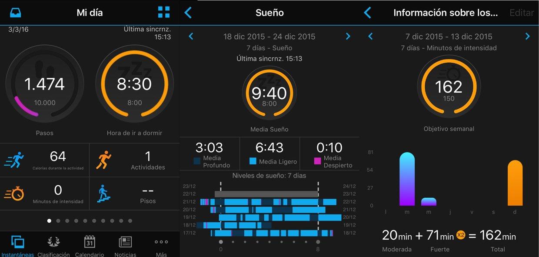 Registros de la vivofit 3 en la app Garmin Connect: Pasos, calorías, distancia, horas de sueño y minutos de intensidad.