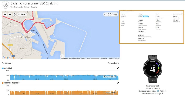 garmin forerunner 230 actividad ciclismo en Garmin Connect