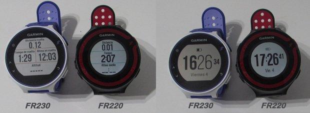 garmin forerunner 230 pantalla versus pantalla del Forerunner 220