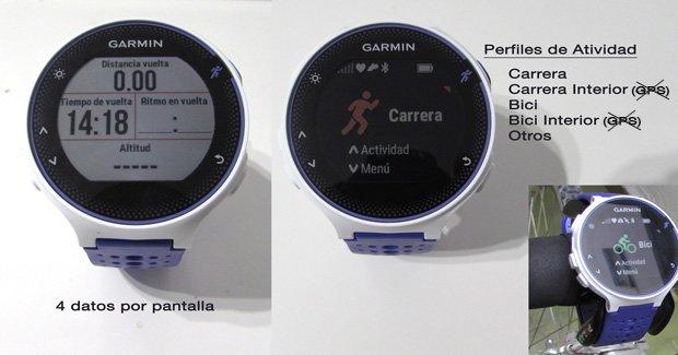 pantalla de datos Garmin forerunner 230