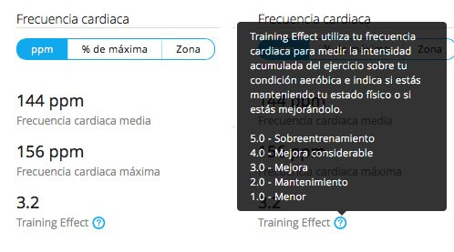 training effect garmin forerunner 230