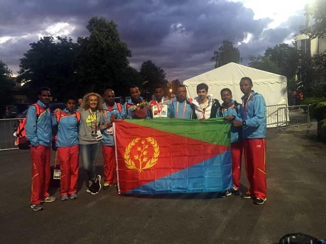 Junto a promesas Eritreos en la localidad polaca de Bydgoszcz donde se celebró el Mundial de la categoría júnior este mes de julio.