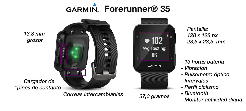 Garmin Forerunner 35 características técnicas y novedades