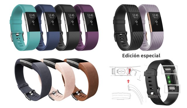 colores y correas fitbit charge 2