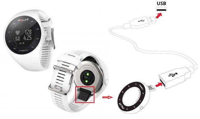 pulsómetro de muñeca con gps polar m200 cargador tipo usb A
