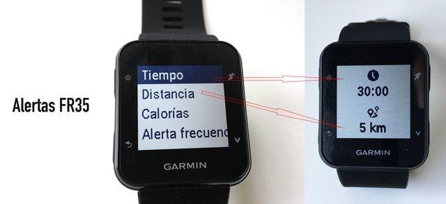 Alertas personalizadas de carrera en Garmin Forerunner 35