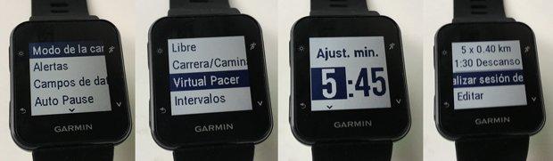 virtual pacer en Garmin Forerunner 35