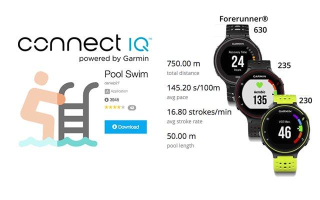 Pool Swim app de IQ Connect para natacion en piscina con Garmin Forerunner 230 y 235
