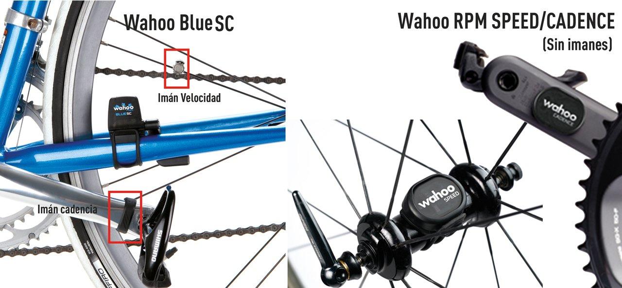 Sensor de cadencia Wahoo Blue SC versus Wahoo RPM sin imanes.