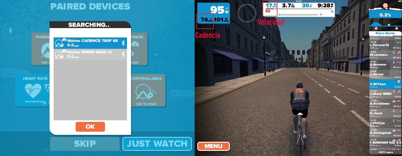 Simulador Zwift con sensores de velocidad y cadencia Wahoo RPM sin imanes.