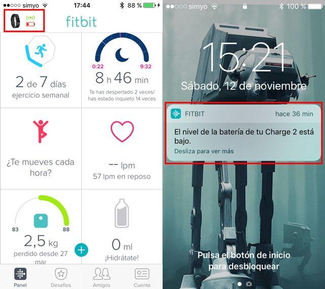 Avisos batería baja Fitbit Charge 2