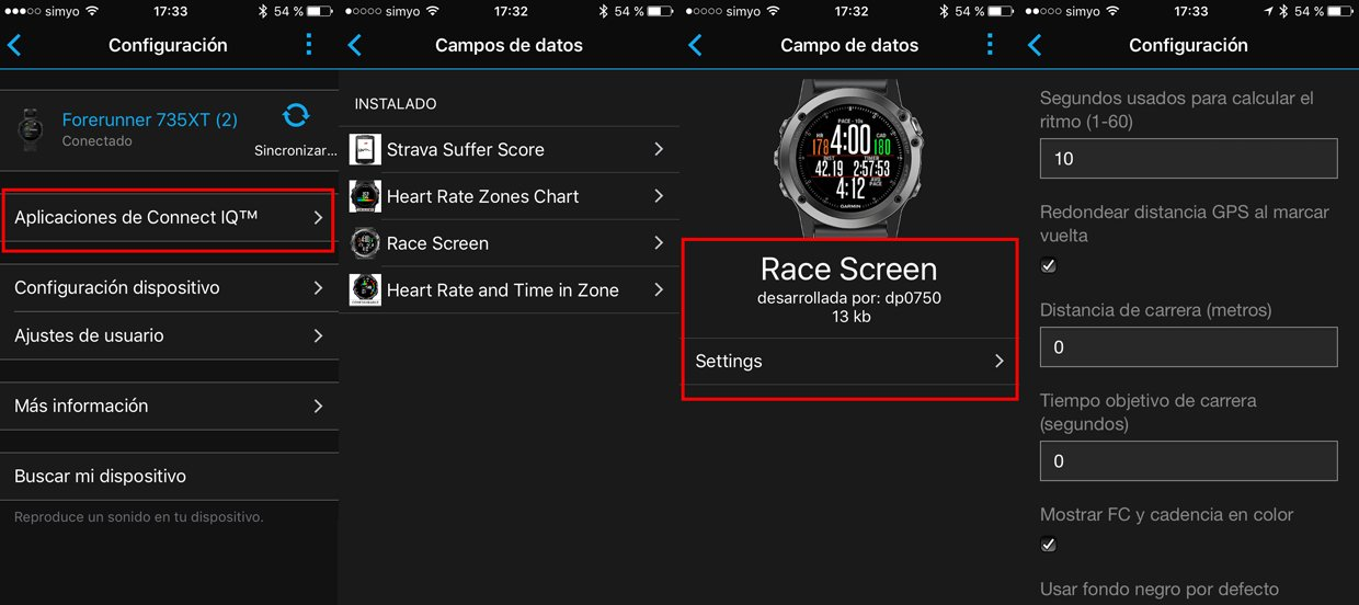 Configuración de los data field de Connect IQ desde la aplicación Garmin Connect