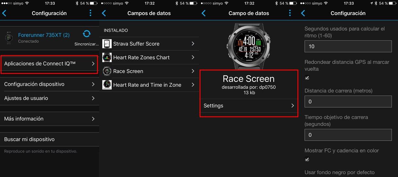 Configuración de los data field de Connect IQ desde la aplicación Garmin Connect