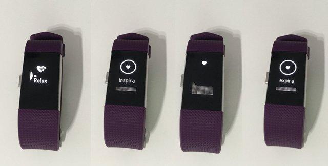 Ejercicios de respiración guiada en el Fitbit Charge 2