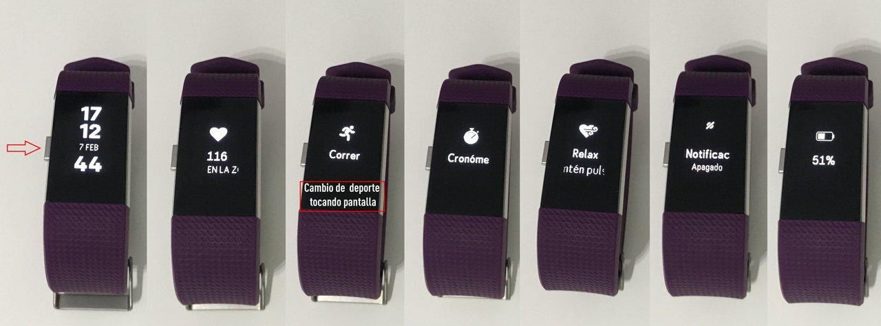 Fitbit Charge 2: pantallas de menú.