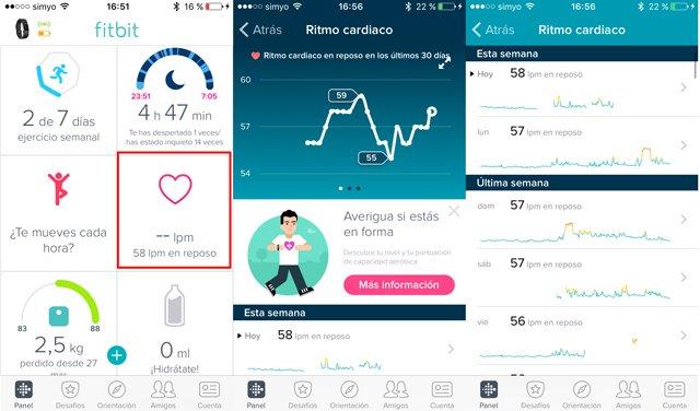 App móvil de fitbit con registro de pulso en reposo y 24 horas.