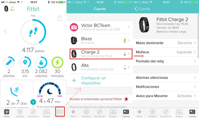 Configuración inicial Fitbit Charge desde app móvil