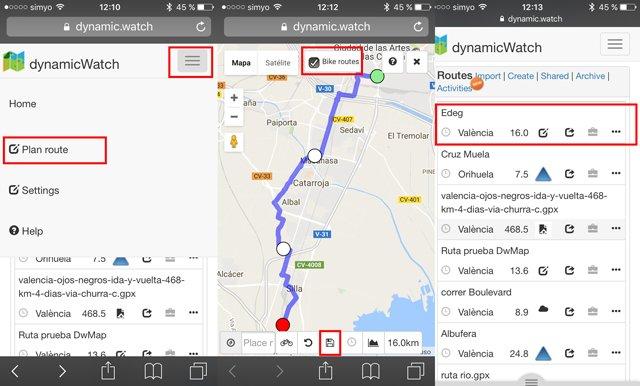 Creación de rutas en RouteCourse desde un móvil para importarlas a un Garmin Edge.
