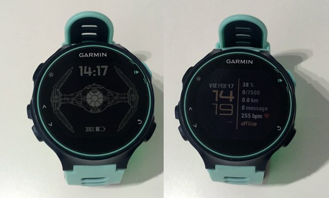 Watch face line y space star wars de Connect IQ en Garmin Forerunner 735xt