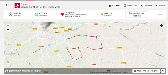 Track generado tras una carrera con el Polar M200 y visualizado en el portal Flow Polar