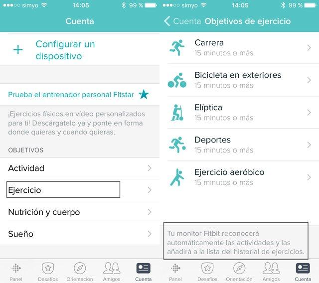 Función SmartTrack: reconocimiento automático de actividades