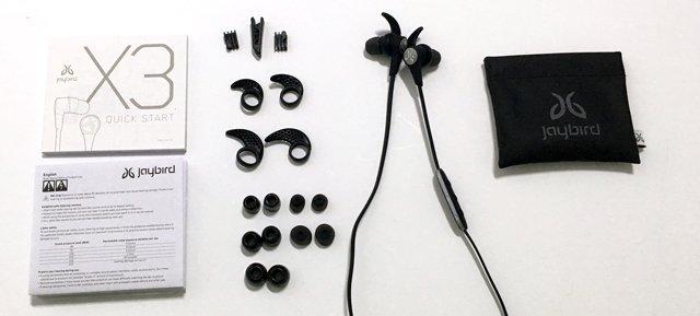 jaybird x3 auriculares inalámbricos bluetooth para deporte: contenido de la caja.