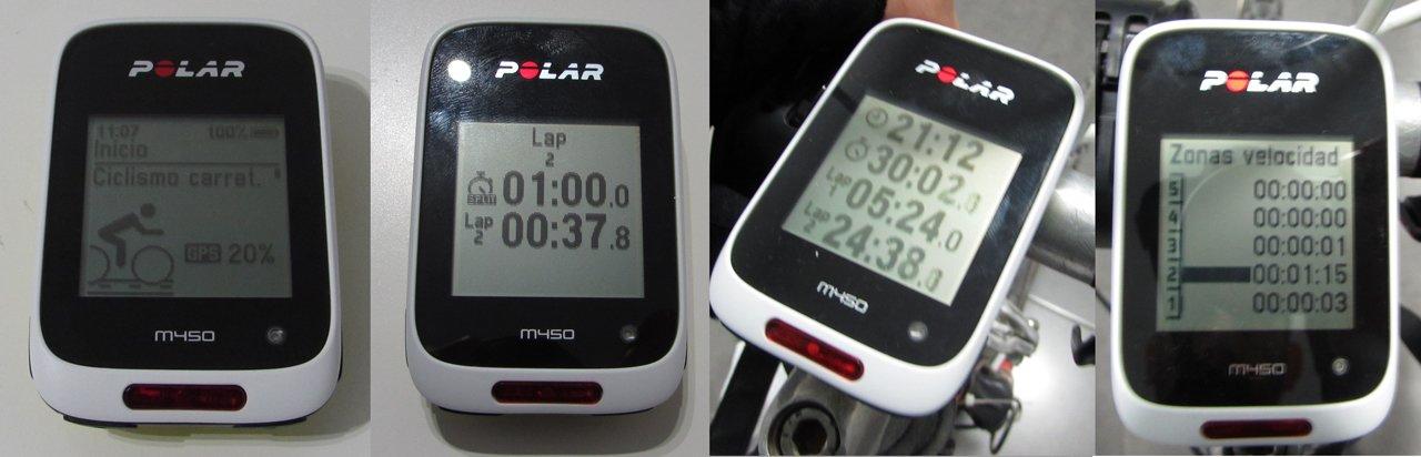 Pantallas de datos en Polar M450