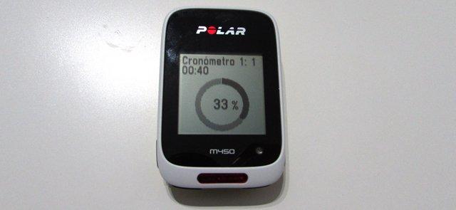 Cronómetro intervalos en Polar M450