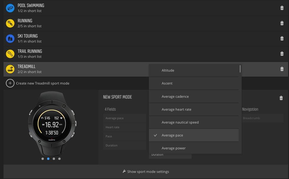Configuración perfiles deportivo Suunto Spartan