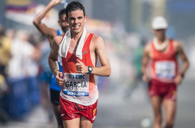 The marcher Diego García suffered the suffocating heat of Doha