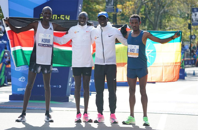 Bekele, along with Kamworor, Korir and Kipchoge / AFP