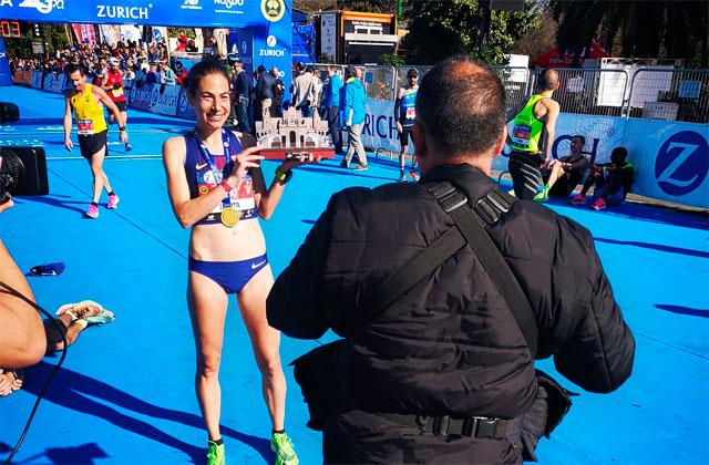 Marta Galimany, upon arrival in Seville / Seville Marathon