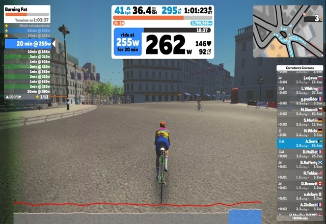 Workout pantalla Zwift