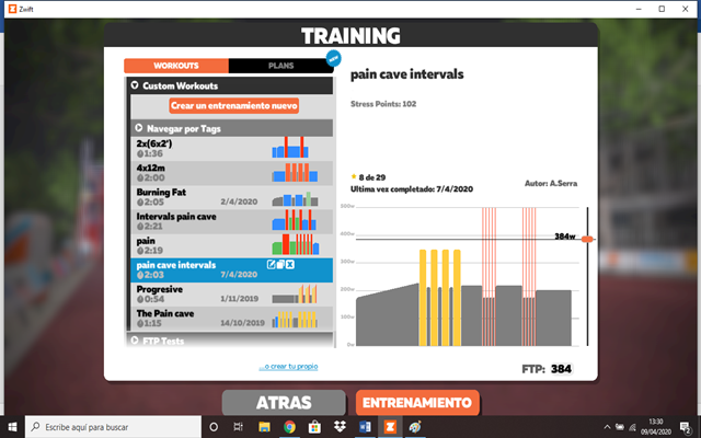crear workout zwift