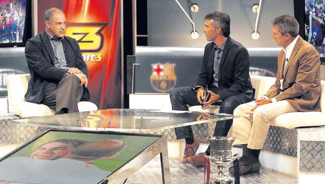 Zubizarreta, en el plató de TVC junto a Xavi Torres y `Pichi¿ Alonso, en el estreno del `Hat Trick Barça¿ de la presente temporada | IGNASI PAREDES